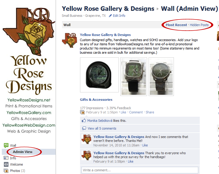 New Facebook Pages | Yellow Rose Web Design