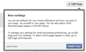 Facebook Tour Edit Settings
