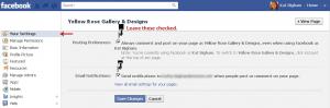 Facebook Your Settings tab